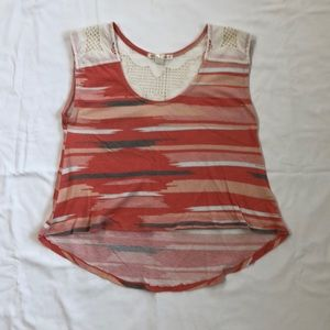 XS Threads 4 Thought Coral Striped Tank